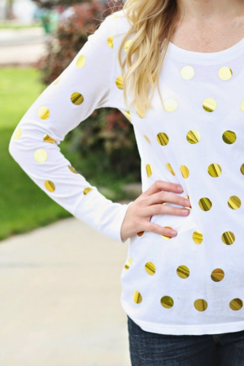 Sparkly DIY Gold Foil Polka Dot Shirt