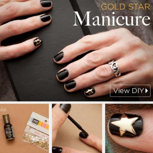DIY Gold Star Manicure For The Holiday Season