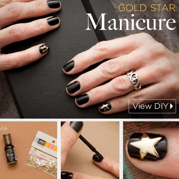 Picture Of diy gold star manicure for the holiday season  1