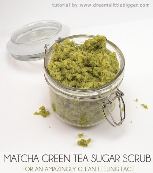 matcha green tea sugar scrub (via dreamalittlebigger)