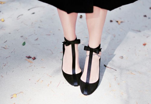 DIY Holiday Shoes With T-Straps And Ankle Bows