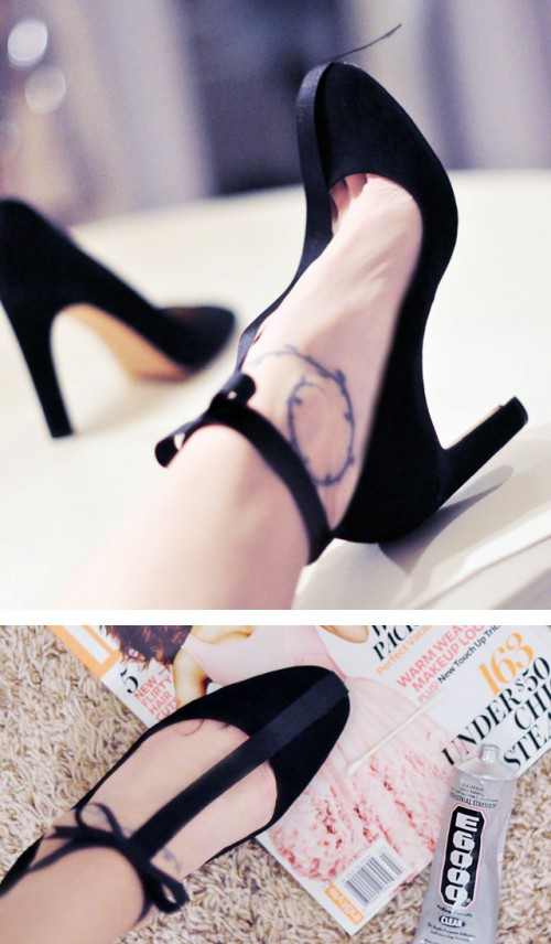 DIY Holiday Shoes With T Straps And Ankle Bows