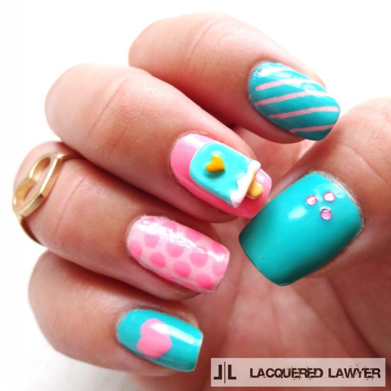 Picture Of diy ice cream love nail art design using 3d resin  1