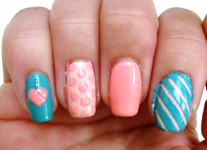 Picture Of diy ice cream love nail art design using 3d resin 4
