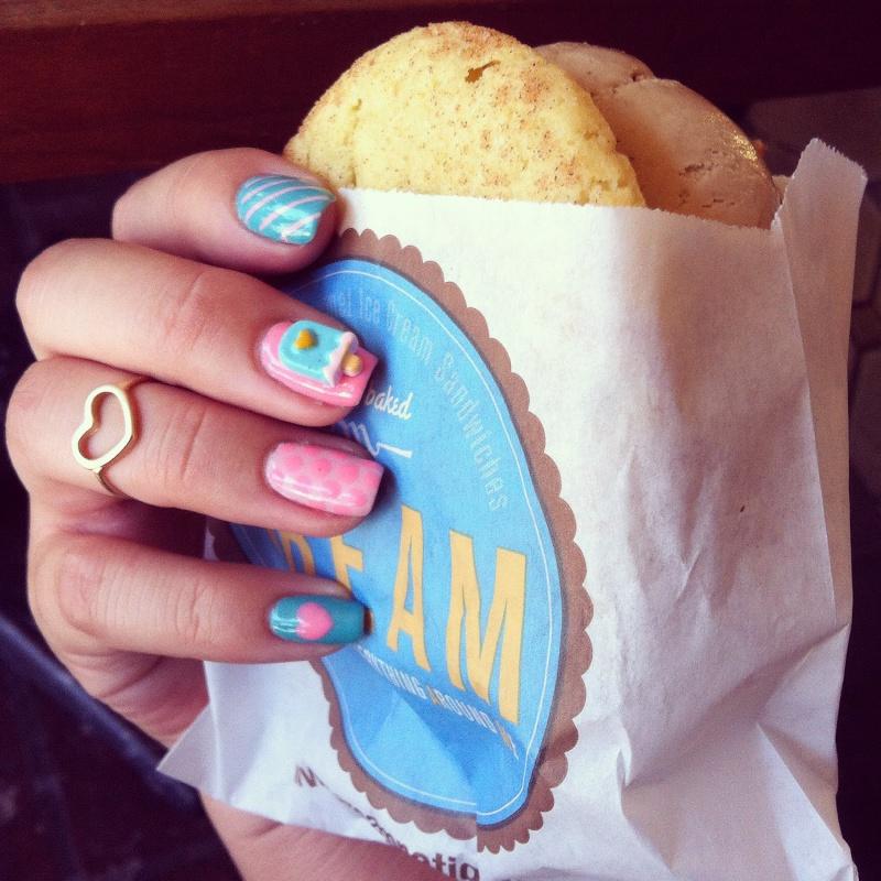 Picture Of diy ice cream love nail art design using 3d resin  5