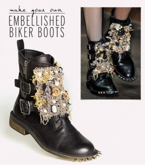 DIY Embellished Boots Inspired By Original Saint Laurent's F/W 13 Boots