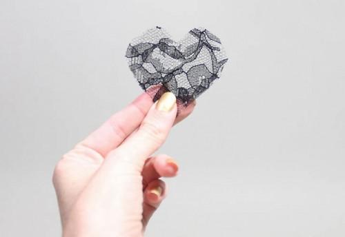 DIY Lace Heart To Heart Earrings