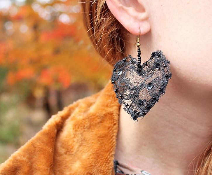 Picture Of diy lace heart to heart earrings  8