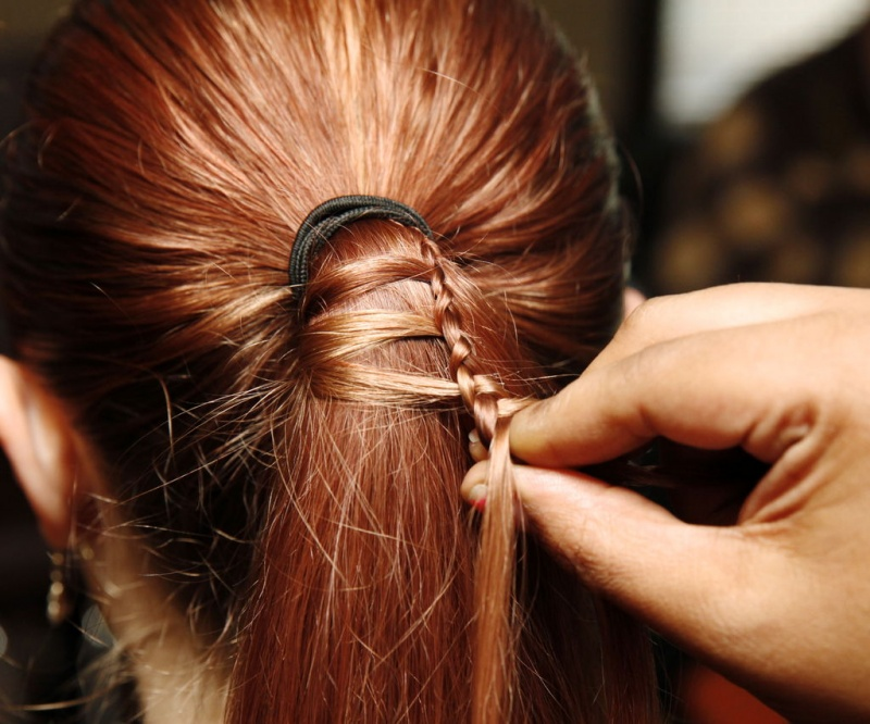 Picture Of diy ladder braid to fancy up your ponytail  2