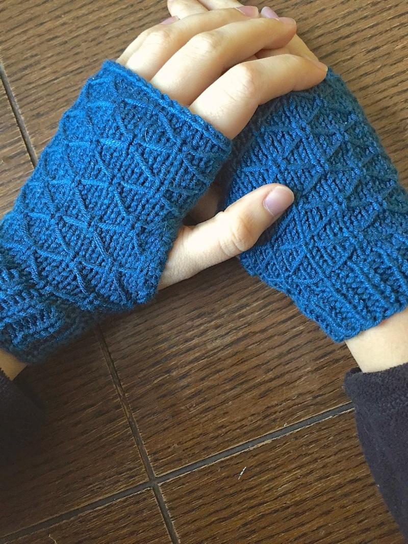 Picture Of diy lattice knit wrist warmers  1