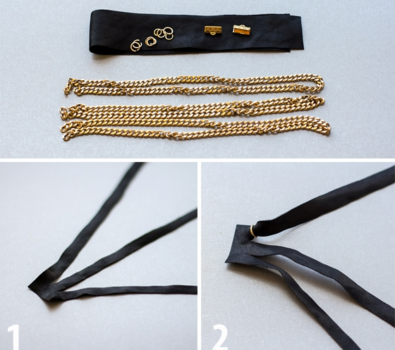 Picture Of diy layered chain and braided leather necklace  2