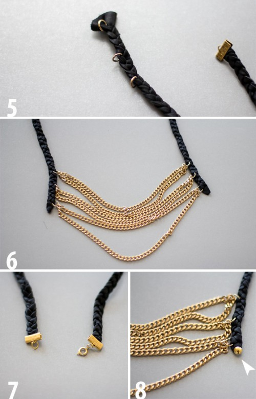 DIY Layered Chain And Braided Leather Necklace