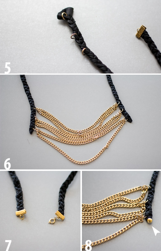 Picture Of diy layered chain and braided leather necklace  4