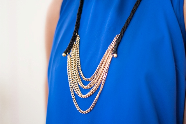 Picture Of diy layered chain and braided leather necklace  5