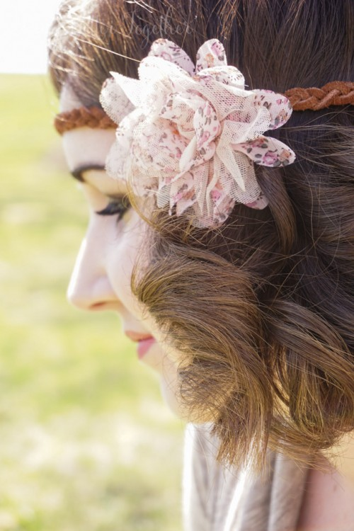 DIY Leather Headband With A Fabric Flower