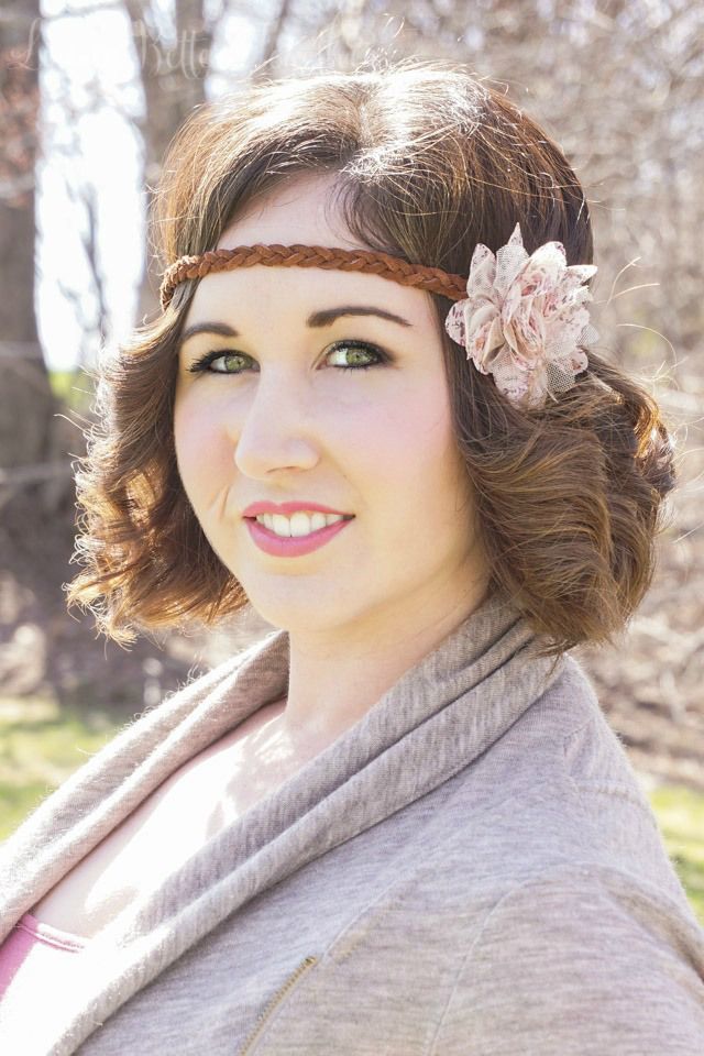 Picture Of diy leather headband with a fabric flower  2