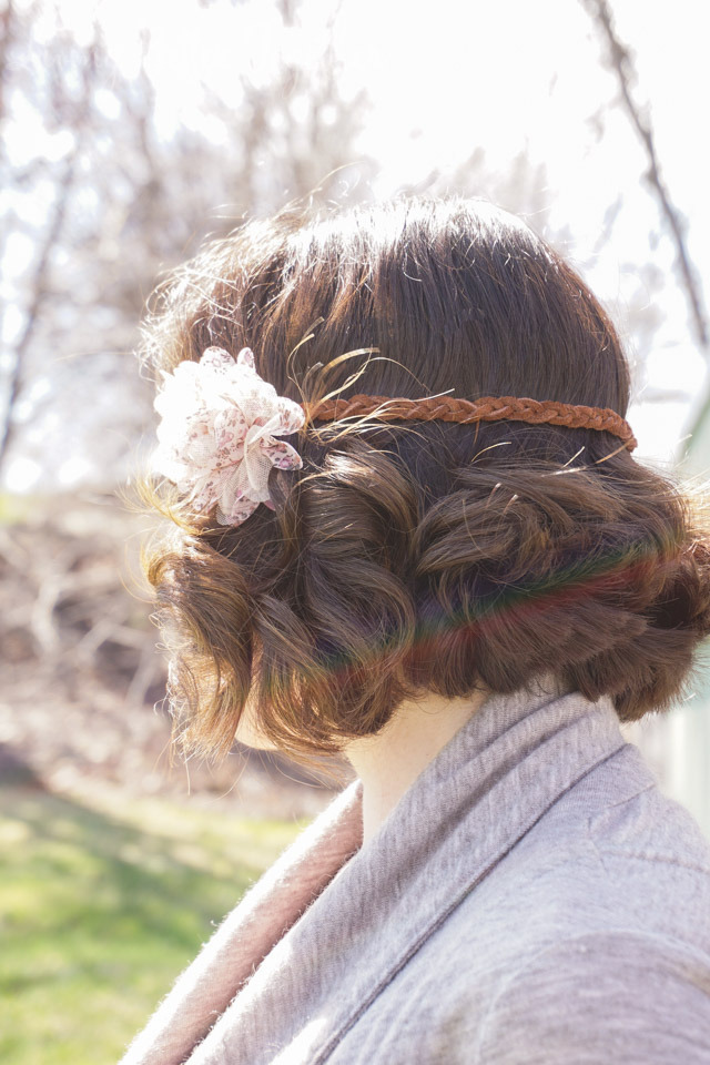 Picture Of diy leather headband with a fabric flower  3