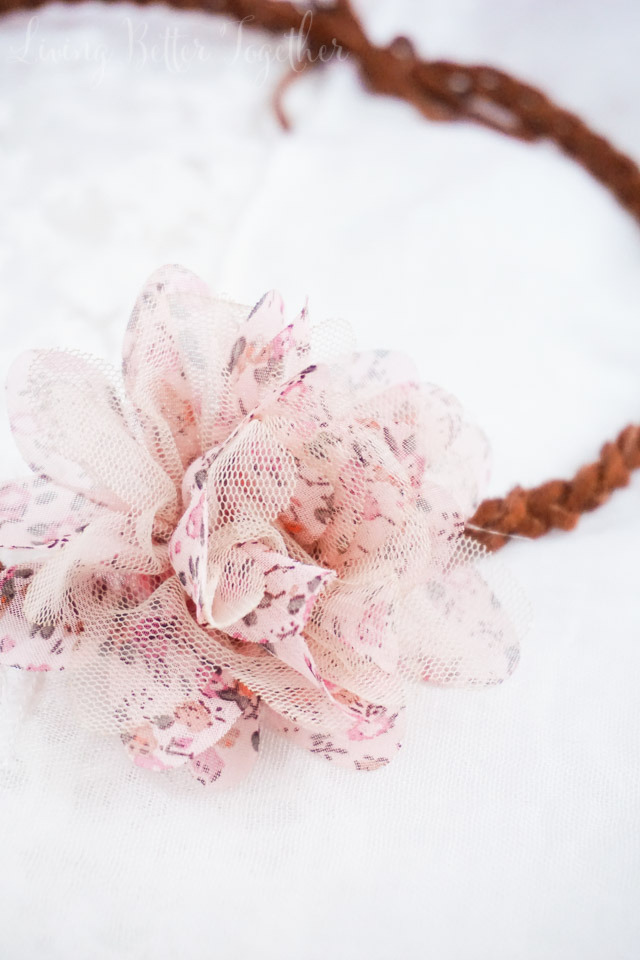 Picture Of diy leather headband with a fabric flower  4