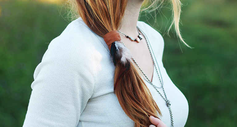 Picture Of diy leather ponytail wrap  1