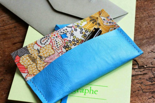 DIY Leather Pouch With Patterned Fabric Inside