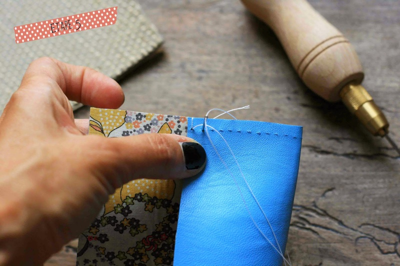 Picture Of diy leather pouch with patterned fabric inside  5