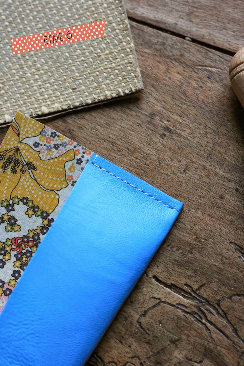 Picture Of diy leather pouch with patterned fabric inside  6