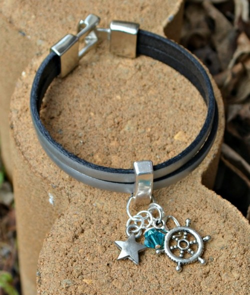 DIY Leather Wrap Charm Bracelet