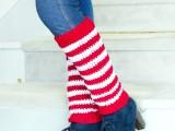 candy cane crochet leg warmers