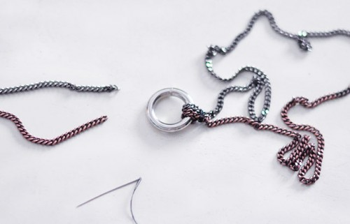 DIY Long O Ring Double Chain Necklace
