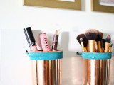 Leather   Copper Cup Organizer DIY