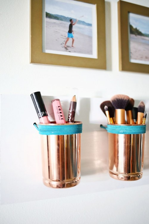 Leather   Copper Cup Organizer DIY (via abeautifulmess)