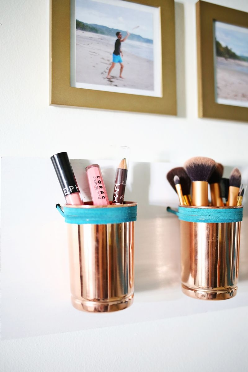 Leather   Copper Cup Organizer DIY