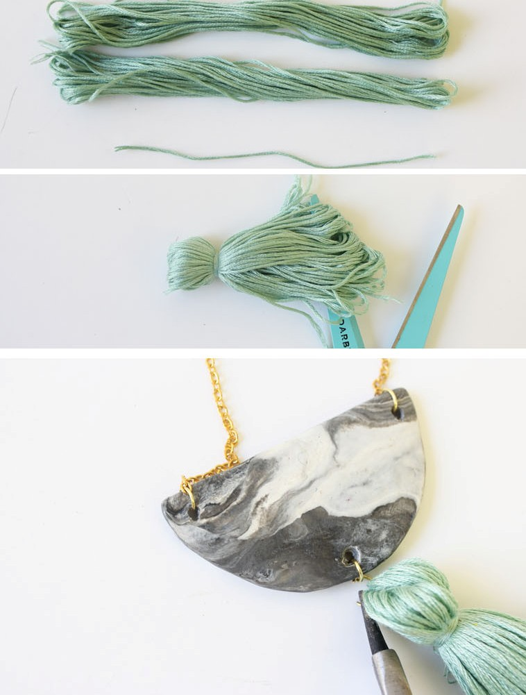 Picture Of diy marbled necklace with a pastel tassel  4