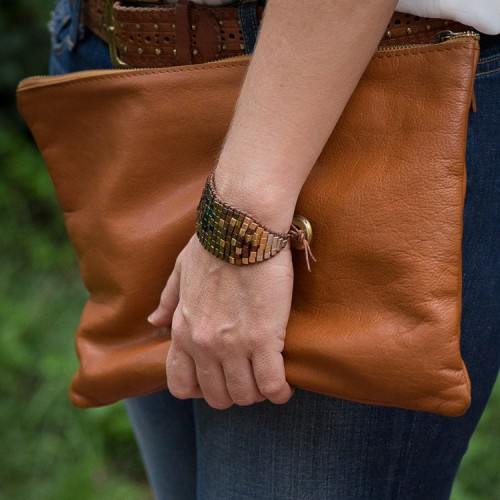 DIY Ombre Beaded Leather Cuff
