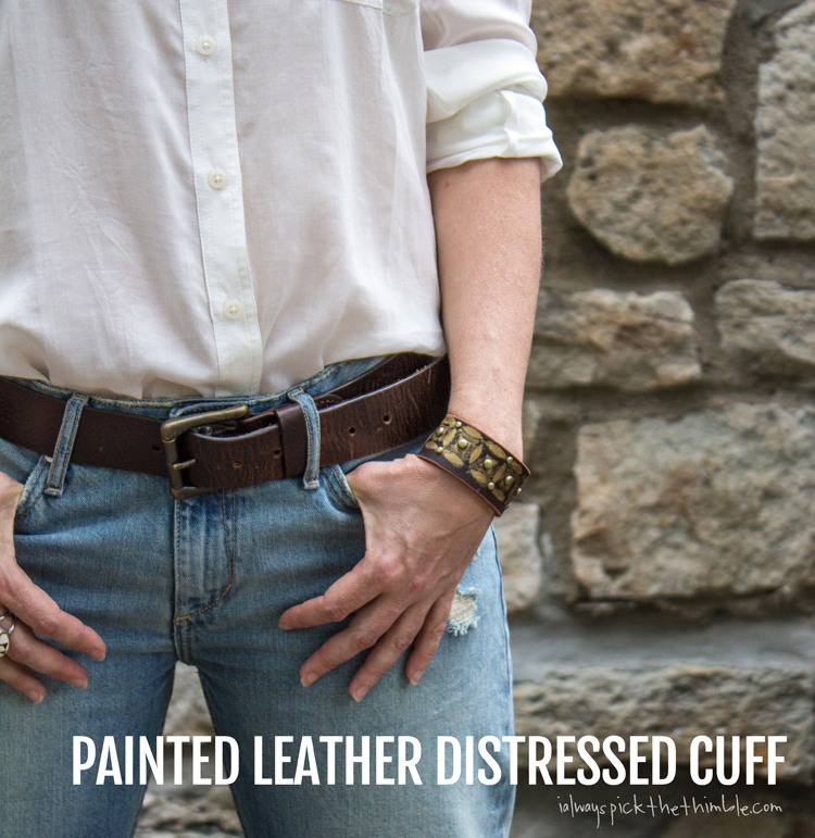Picture Of diy painted leather distressed cuff  1