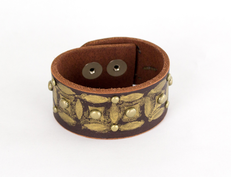 Picture Of diy painted leather distressed cuff  7