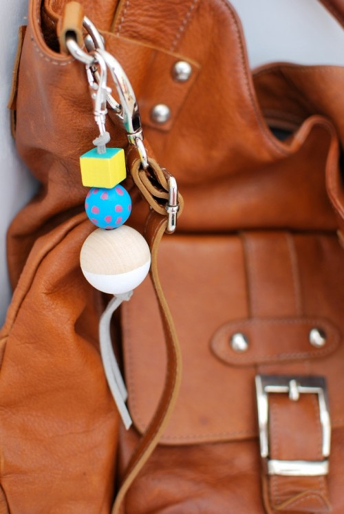 DIY Painted Wooden Bead Bag Charm