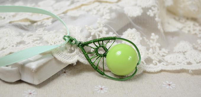 Picture Of diy pear like wire wrapped pendant  1