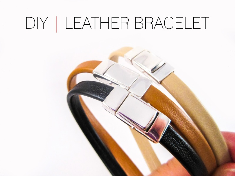Picture Of diy plain leather bracelet with a clasp  1