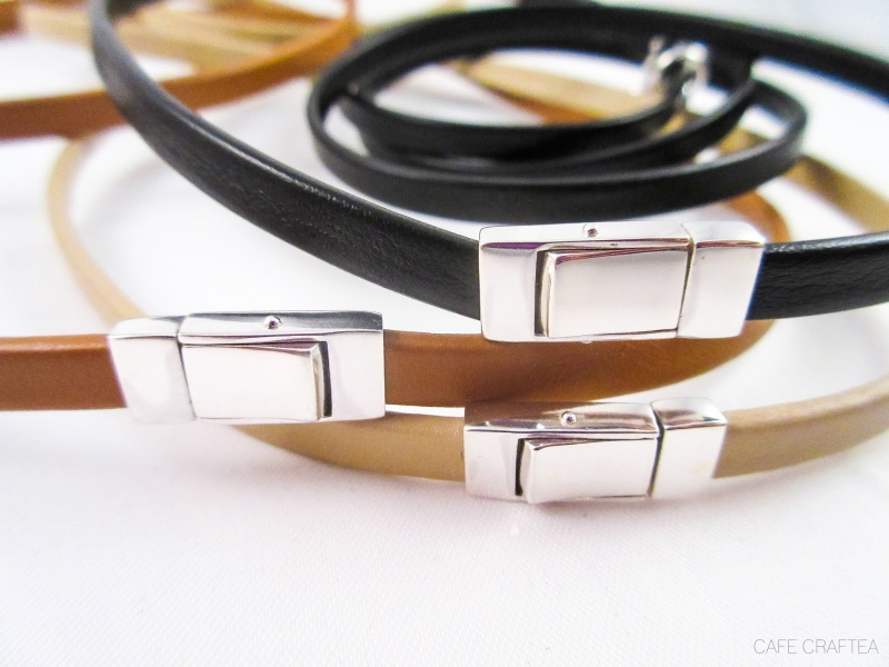 Picture Of diy plain leather bracelet with a clasp  4