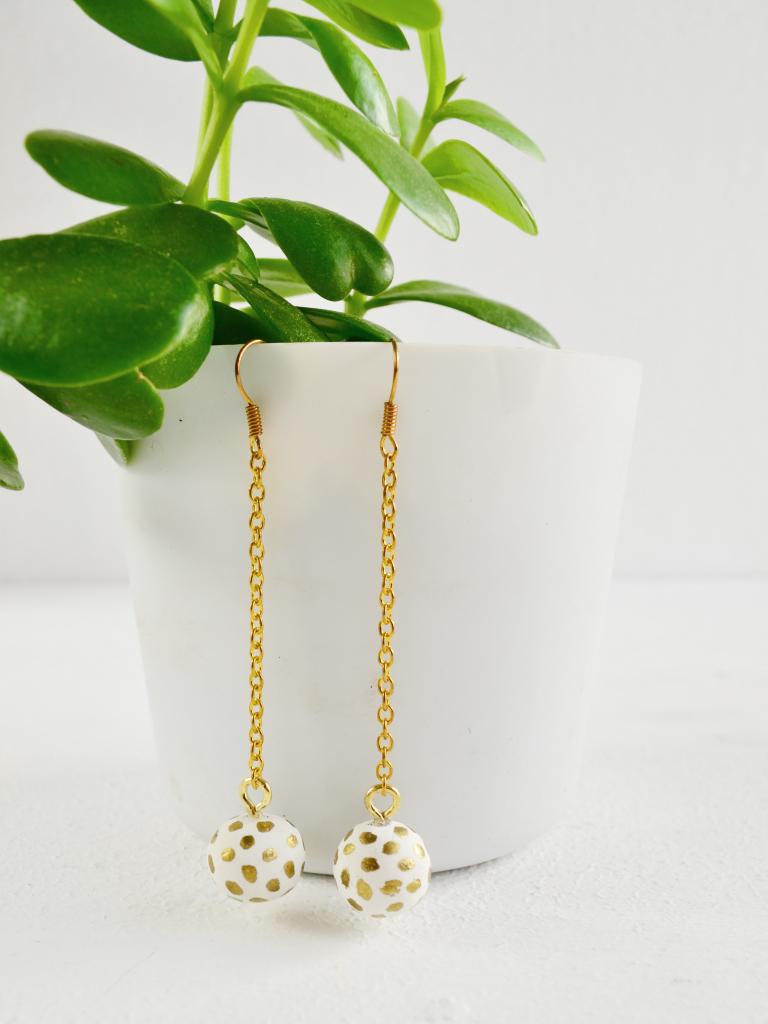 Picture Of diy polka dot clay dangle earrings  1