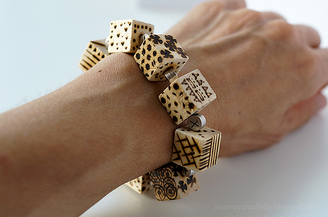 Picture Of diy pyrography wooden cube bracelet  1