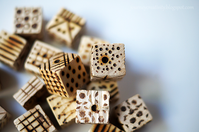 Picture Of diy pyrography wooden cube bracelet  4