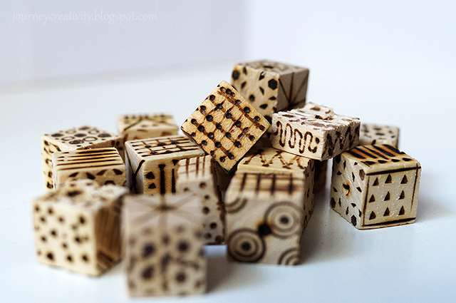 Picture Of diy pyrography wooden cube bracelet  5