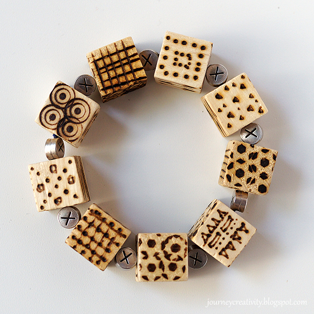 Picture Of diy pyrography wooden cube bracelet  6