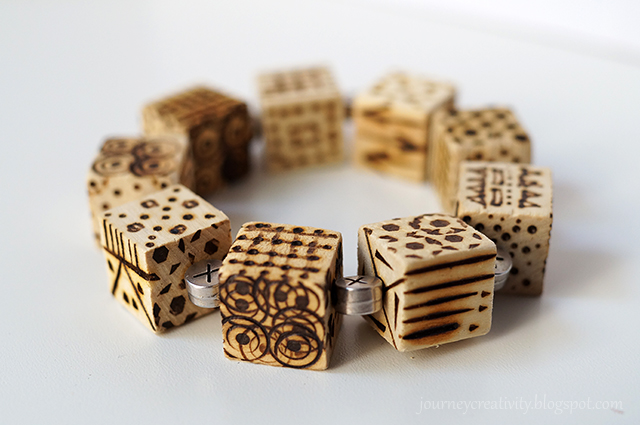 Picture Of diy pyrography wooden cube bracelet  7