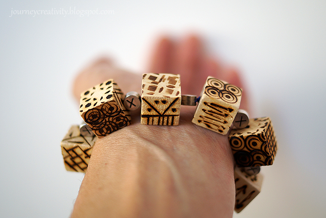 Picture Of diy pyrography wooden cube bracelet  8