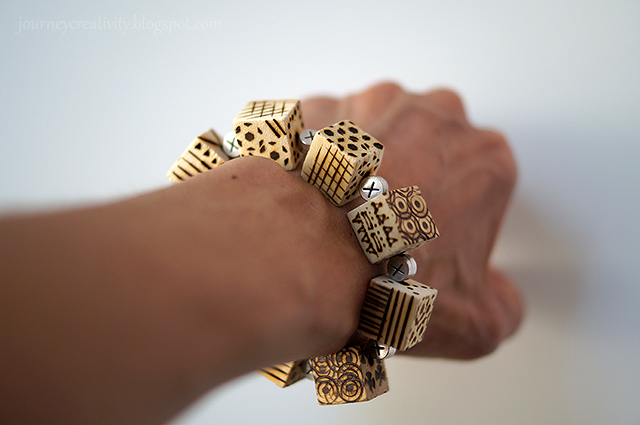 Picture Of diy pyrography wooden cube bracelet  9