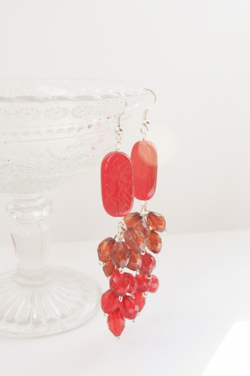 DIY Red Waterfall Earrings To Look Bright