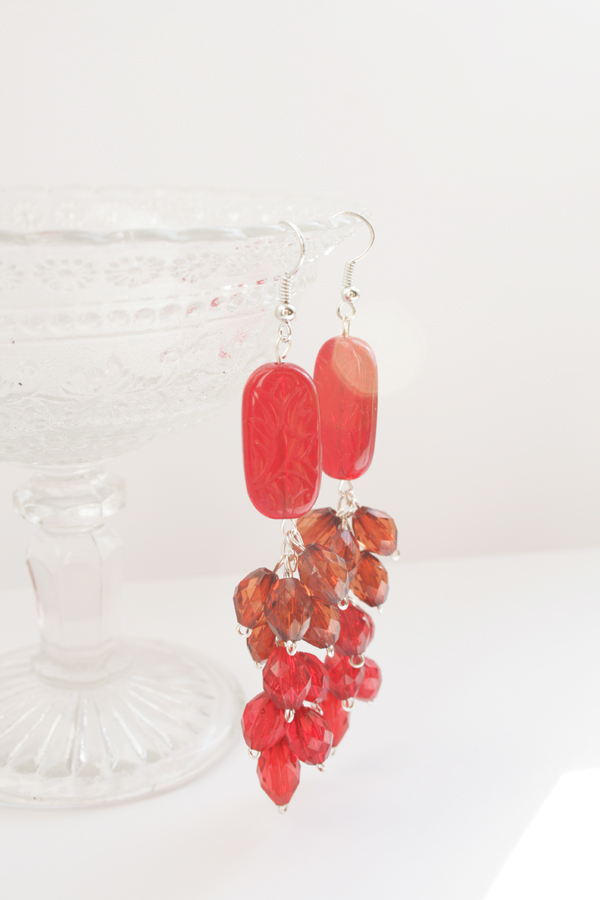 Picture Of diy red waterfall earrings to look bright  1